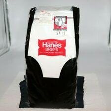 1979 Hanes 3 PK. Briefs Size 40 Black and Red Line Waistband