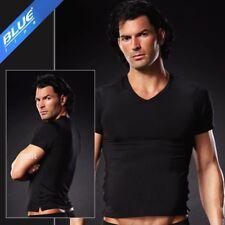 V Neck Premium Nature Top Tee Shirt Unterhemd Microfaser Uni Schwarz in S/M 5700