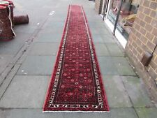 Vintage Traditional Hand Made Oriental Red Wool Very Long Runner 725x83cm