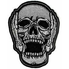 Embroidered Hear No Evil Skull Iron on Sew on Biker Patch Badge