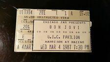 Jon Bon Jovi Ticket Stub  3/4/1987 UIC Pavilion Chicago LAST ONE IN STOCK!