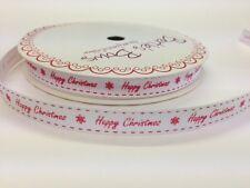 "5m ""Happy Christmas"" Red Print on 9mm White Grosgrain Ribbon, Bertie's Bows Wrap"