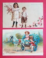 2 x Glückwunsch AK PFINGSTEN 1911 Kinder mit Pferdekutsche und Flieder  ( 31475