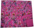 PINK BIRD FLORAL KANTHA QUILT INDIAN BEDSPREAD BLANKET COTTON THROW GUDARI RALLI