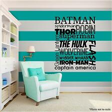 SUPER HERO KIDS family Vinyl Wall Art quote Home Decor Decal Words Phrases Black
