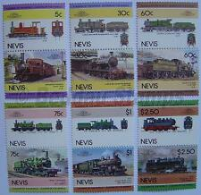 1985 NEVIS Set #4 Train Locomotive Railway Stamps (Leaders of the World)