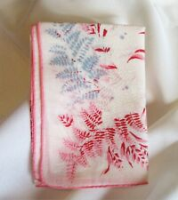 Vintage Sweet Pastel Shades of Pink Fern Leaves Handkerchief Hand Rolled Hem