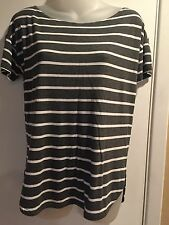 GAP Women's Blouse Sz small gray/white stripes stretch