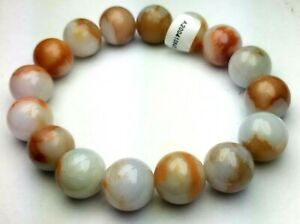 Certified Orange Brown White Natural A Jade Jadeite 12mm Bead Stretchy Bracelet