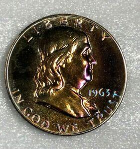 1963 SILVER PROOF Ben Franklin Half Dollar 50c  ~ WOW ~ RAINBOW TONED