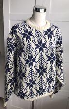 L.L.Bean Snowflake Nordic Sweater Sz L Long Sleeve Wool Blend USA Blue/Cream