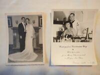 2 Vintage photos  MILITARY COUPLES WEDDING B&W SNAPSHOTS 1940's - 1950's