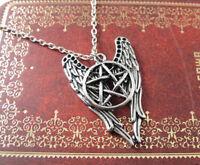 Vintage Castiel Wicca Supernatural Pentagram Angel Wing Pendant Chain Necklace