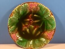 Gorgeous Antique Green Brown & Pink German Majolica Leaves Plate c1840