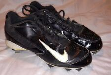 NIKE HUARACHE Baseball Softball Metal Cleats 8.5 Black White Nike Check Mark