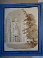 Ecole FRANCAISE XIX DESSIN LAVIS FIERBOIS TOURAINE TOURS EGLISE GOTHIQUE 1830