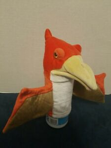 PLUSH DOLL FIGURE AURORA ORANGE PTERODACTYL DINOSAUR BIRD HAND PUPPET TOY