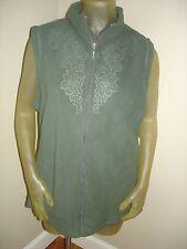NWT Laura Scott Thyme Green MICROFLEECE Embossed Vest Womens size 1X