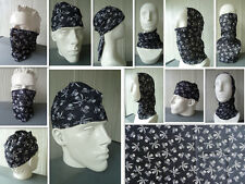 'SKULL' Head/Face/Mask/Neck Multi-wear tube Bandana/Durag. SPF5, Scarf/Wrap. HD