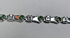 Estate 3ct Emerald Diamond Handset Bracelet 14K White Gold Links Heavy 21 grams