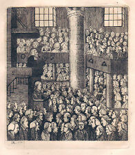 JOHN KAY original antique Gravure. Une bourgade CONGREGATION, 1785