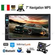 "7"" AUTORADIO Car Stereo LETTORE MP5 BT GPS Android 1+16G 2 DIN + Telecamera IT"