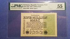 1923 - 1 Million Mark, Germany, P# 102a, PMG 55 About Unc.