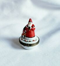 Vintage Midwest Of Cannon Falls Old World Santa With Sled Trinket Box