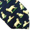 Alynn Neckwear 100% Silk Tie Yellow Labrador Retriever Dog w/ Bone Navy Blue USA