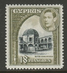Cyprus 1938-51 George VI 18p Black and sage-green SG 160a Mint.