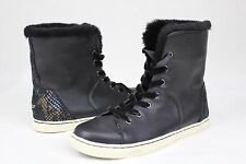 UGG CROFT EXOTIC VELVET BLACK LEATHER CASUAL ANKLE SNEAKER SIZE 7 US