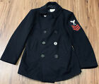 Vtg Genuine Navy PeaCoat USN Issued Wool Large Size 40S Black Patch