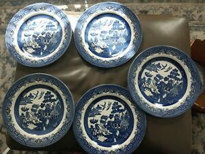 Lot Of 5 Blue Willow England Churchill China DINNER PLATES 10 1/8 Inch