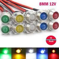 Lots 10pcs 8mm 12V Indicator Light LED Lamp Bulb Truck Pilot Dash Panel Car Boat
