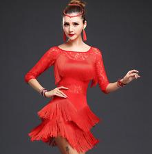 Para mujer Show Latino Salsa Cha Cha Tango Salón de Baile Danza Disfraz Vestido Dancewear