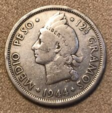 DOMINICAN REPUBLIC 1944 SILVER 50 CENTAVOS FIRST DATE OF ISSUE NICE GRADE RARE