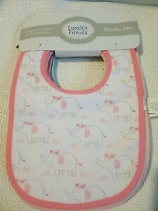 Luvable Friends Unisex Baby Cotton Terry Bibs Neutral Chevron One Size 10pc