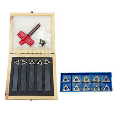 """5 PC 1/2"""" Indexable Carbide Insert Turning Tool Set + 10 PC 1/2"""" Inserts"""