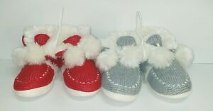 Holiday Women's Ladies Red, Grey Hard Sole Puff Ball Pom Slipper Booties S, Lg