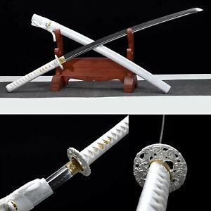 Japanese Samurai Katana Full Tang T10 Steel Clay Tempered Sharp Sword