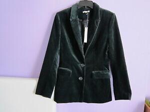 NEW Maggy Frances Women's Dark Green Velvet Blazer Jackets Size 6 (S)