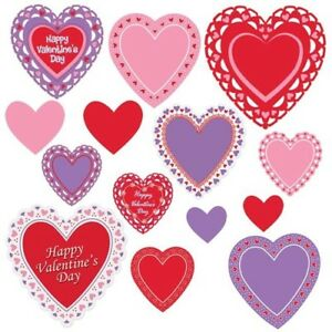 Valentine's Day Heart Cutout Assortment 14 pack Valentines Day Decoration