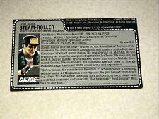 GI JOE VINTAGE STEAM-ROLLER DRIVER FILE CARD UNCUT HASBRO ORIGINAL EXCELLENT