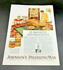 1928 Magazine Print Ad -Johnson's Polishing Wax-S.C. Johnson & Son Ltd Canada