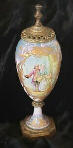 "Antique French Sevres Porcelain Gilt Ormolu Urn Courting Scene 12"" Signed Luigi"