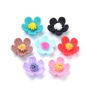 20pcs Colorful Flatback Resin Flower Beads Mini Spacer Beading Crafting 20x21mm