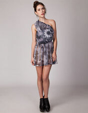 Polyester One Shoulder Floral Regular Size Dresses for Women
