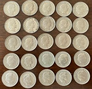 Lot of 25 coins, 20 rappen face value each,1893-1965  !