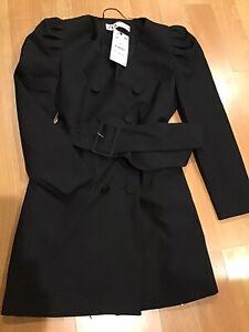 Zara Womens Blazer Dress M Black Double Breasted Belt Puff Shoulder 7832/504 NWT