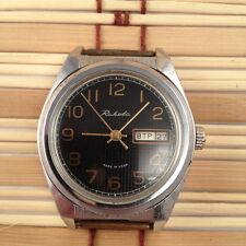 Vintage Soviet RAKETA watch, Checkered Black Dial, Date & Day, USSR / CCCP #292